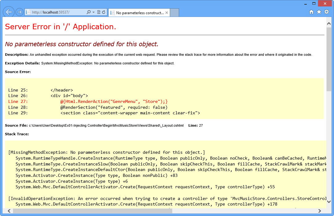 application or object defined error