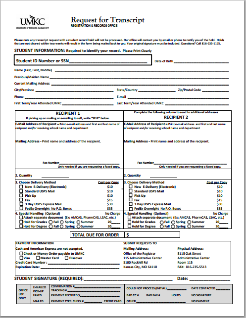 application for issuance of transcript