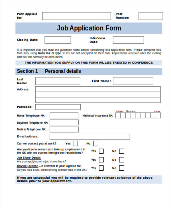 how to fill in job application forms examples