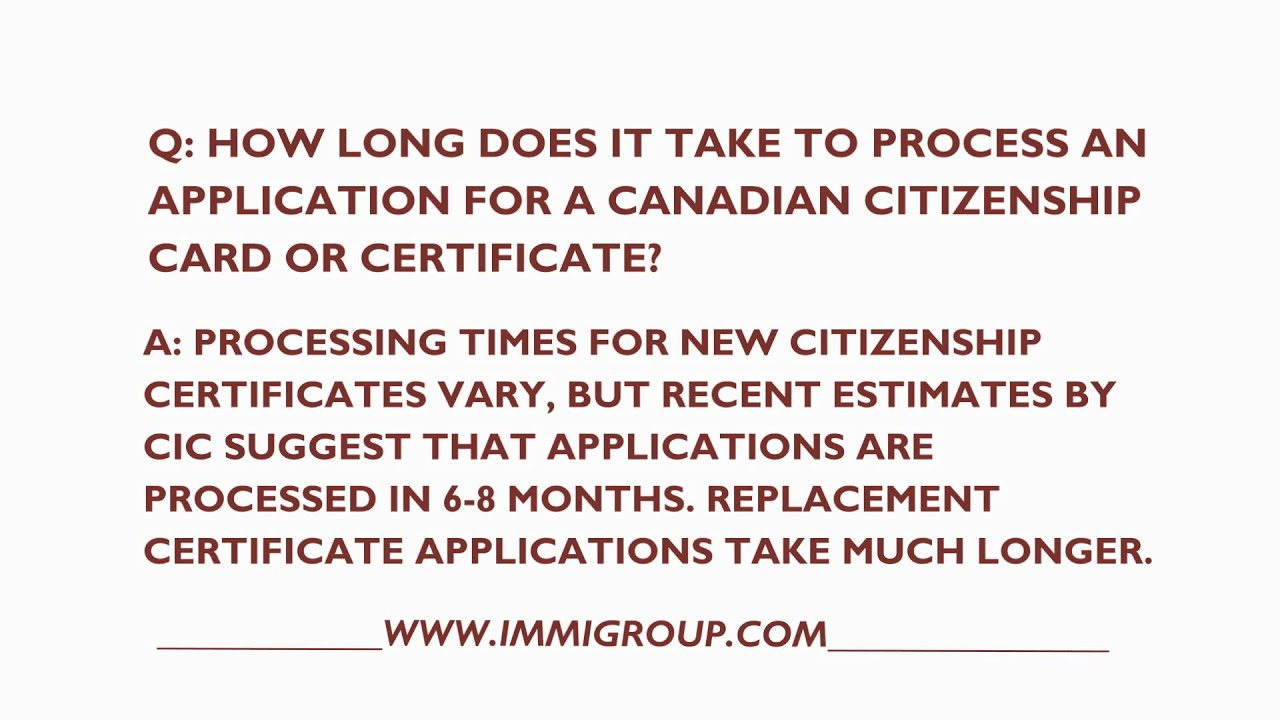 how long canadian citizenship application take to approve