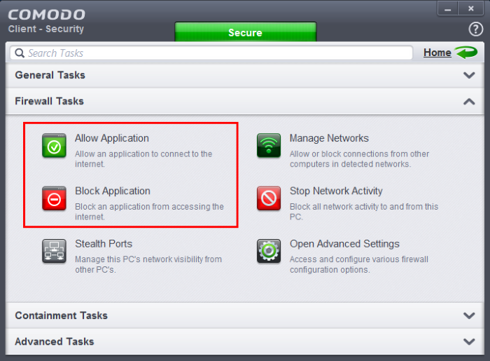 block an application from accessing the internet