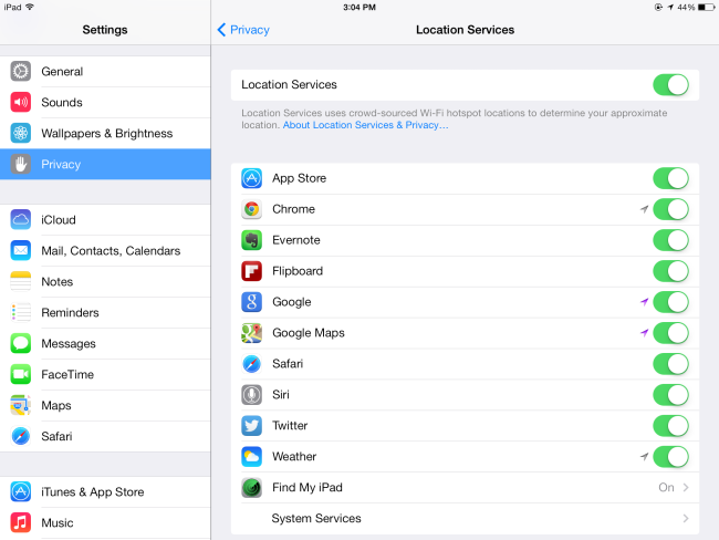where is application manager on iphone settings