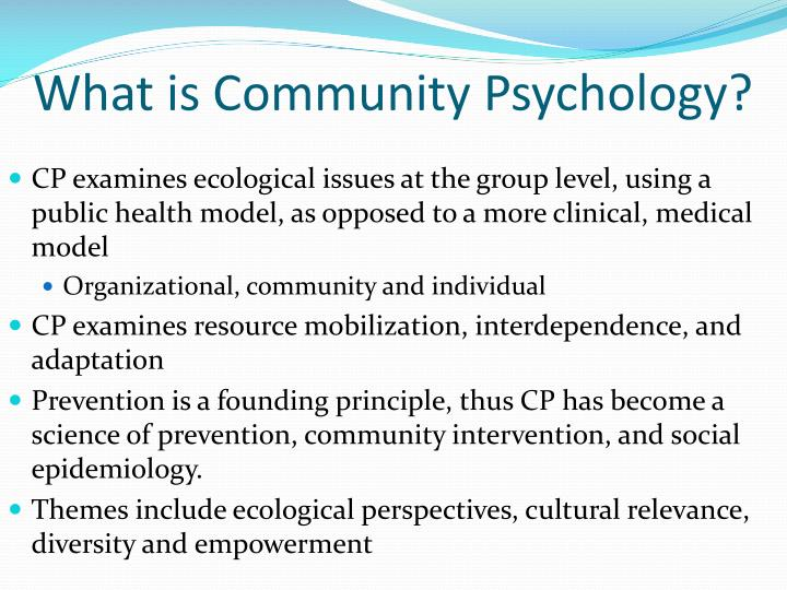 principles of community psychology perspectives and applications