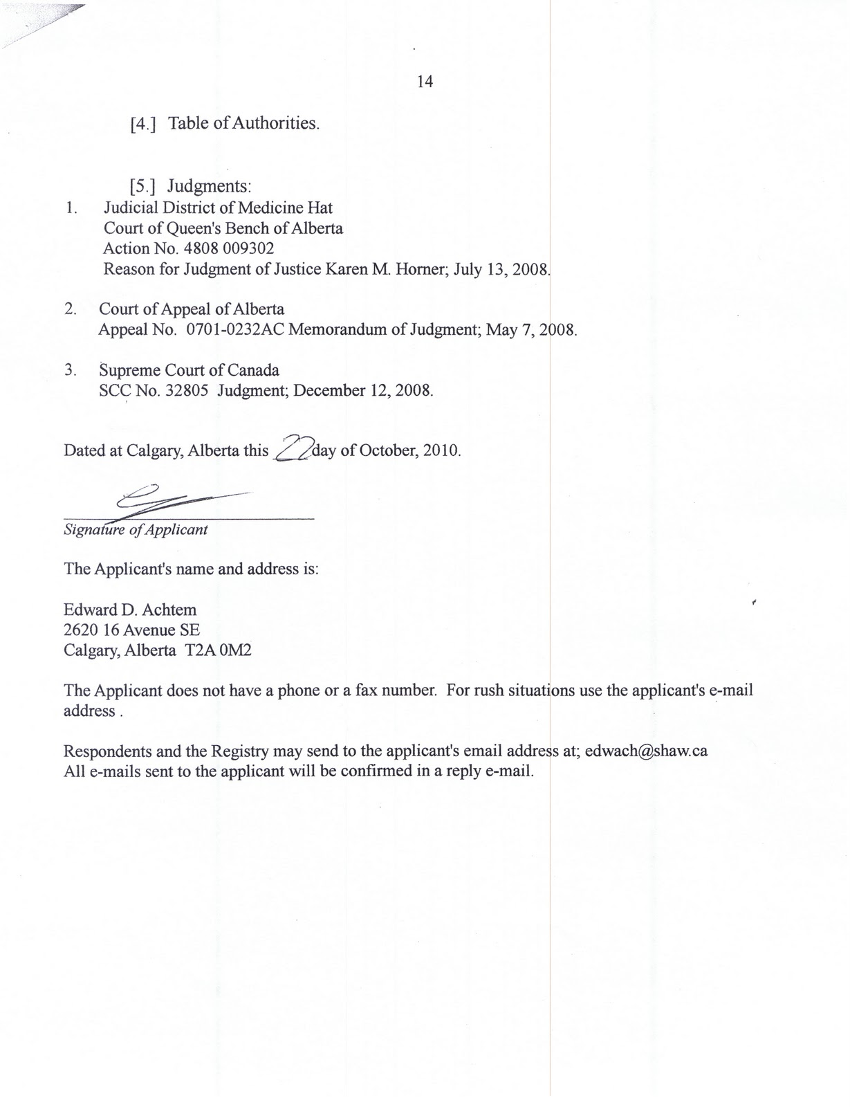 notice of application for judicial review