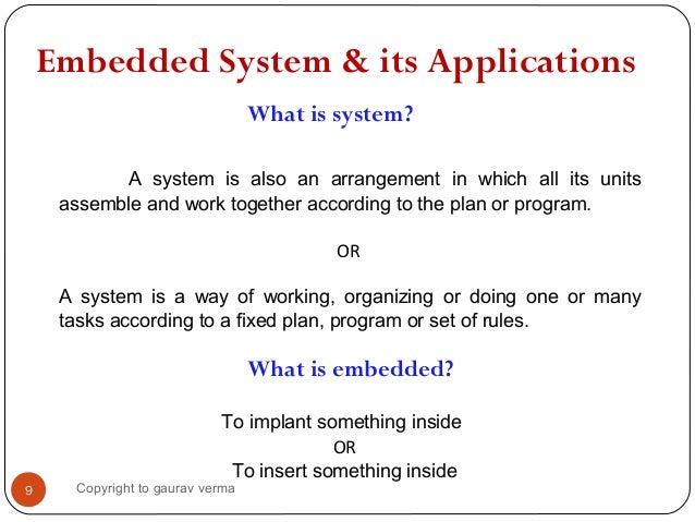 embedded system and its application