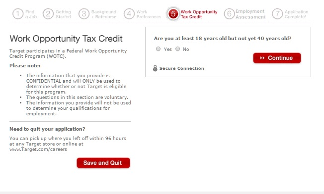 tax credit questionnaire on job application