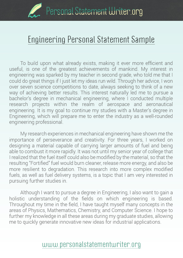 sample personal statement for college application