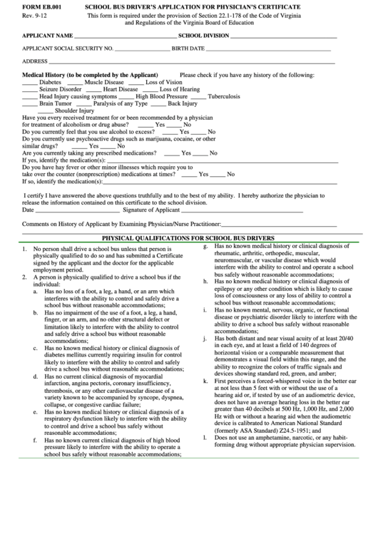 school bus driver application form