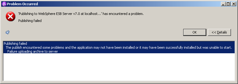 unable to start websphere application server