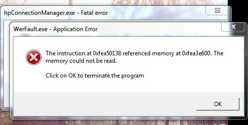 werfault exe application error the instruction at